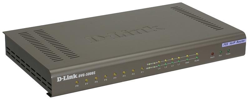 8-ports FXS RJ-11, 1-port 10/100/1000BASE-TX Gigabit Ethernet WAN, 4-ports 10/100/1000BASE-TXGigabit Ethernet port Lan SIP VoIP Gateway (D-Link) DVG-5008SG/A1A