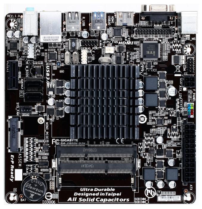 Gigabyte (MB GIGABYTE Intel® Dual-Core Celeron® J1800, 2xDDR3L, VGA(D-SUB+HDMI)+1xPCX1+Mini PCI Express, GBL, 2xSATA2, 1xUSB3.0, Mini-ITX) GA-J1800N-D2H