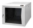Настенный двухсекционный шкаф 19', 9U, стеклянная дверь, Ш600хВ466хГ500мм, цельносварной, серый (TWC-096050-G-W-GY) TLK