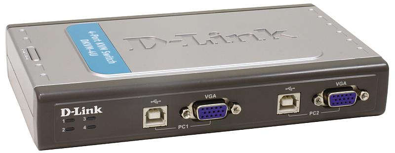 Переключатель D-Link DKVM-4U, 4 port USB KVM switch, 4xUSB2.0, 2 in1 USB KVM Cable x 2