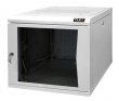 Настенный двухсекционный шкаф 19', 12U, стеклянная дверь, Ш600хВ599хГ500мм, цельносварной, серый (TWC-126050-G-W-GY) TLK